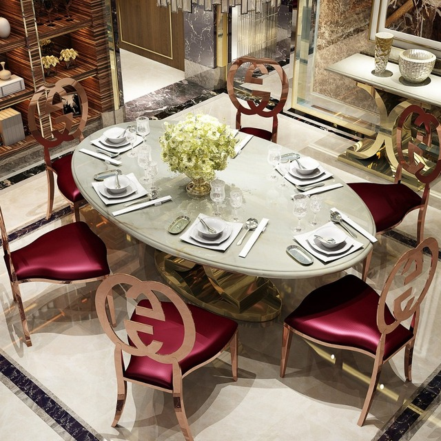 Rama Dymasty Stainless Steel Dining Room Set Home Furniture Minimalist  Modern Marble Dining Table And Chairs