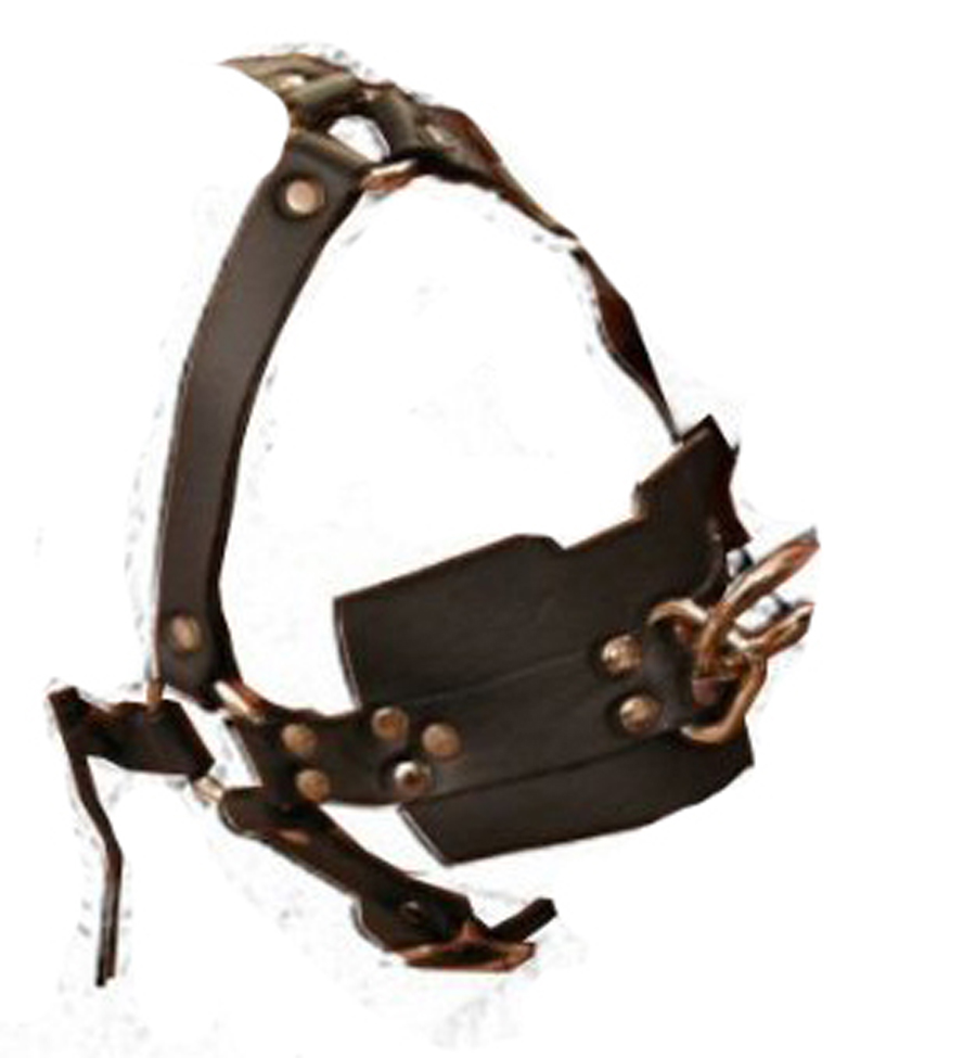 Leather Head Harness With Solid Silicone Ball Gag Bdsm -2660