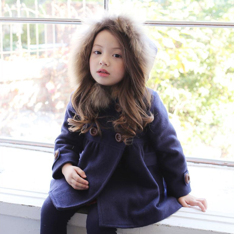 ФОТО Baby Girl Wenter Clothes Kid Woollen Outerwear High Quality Baby Girls Coat Kids With Fur Collar Hoody Brand New Jacket JJ0069