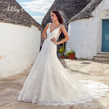 Ashley Carol A-Line Wedding Dress V-neck Court Train