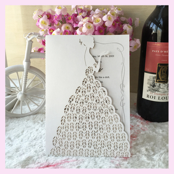 100pcs/lot  shimmer paper pretty Wedding Dress Decoration supply Wedding Invitation Card girl invitation card QJ-12