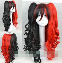 dd003231 Harley Quinn Black and red curly hair cosplay party wigs