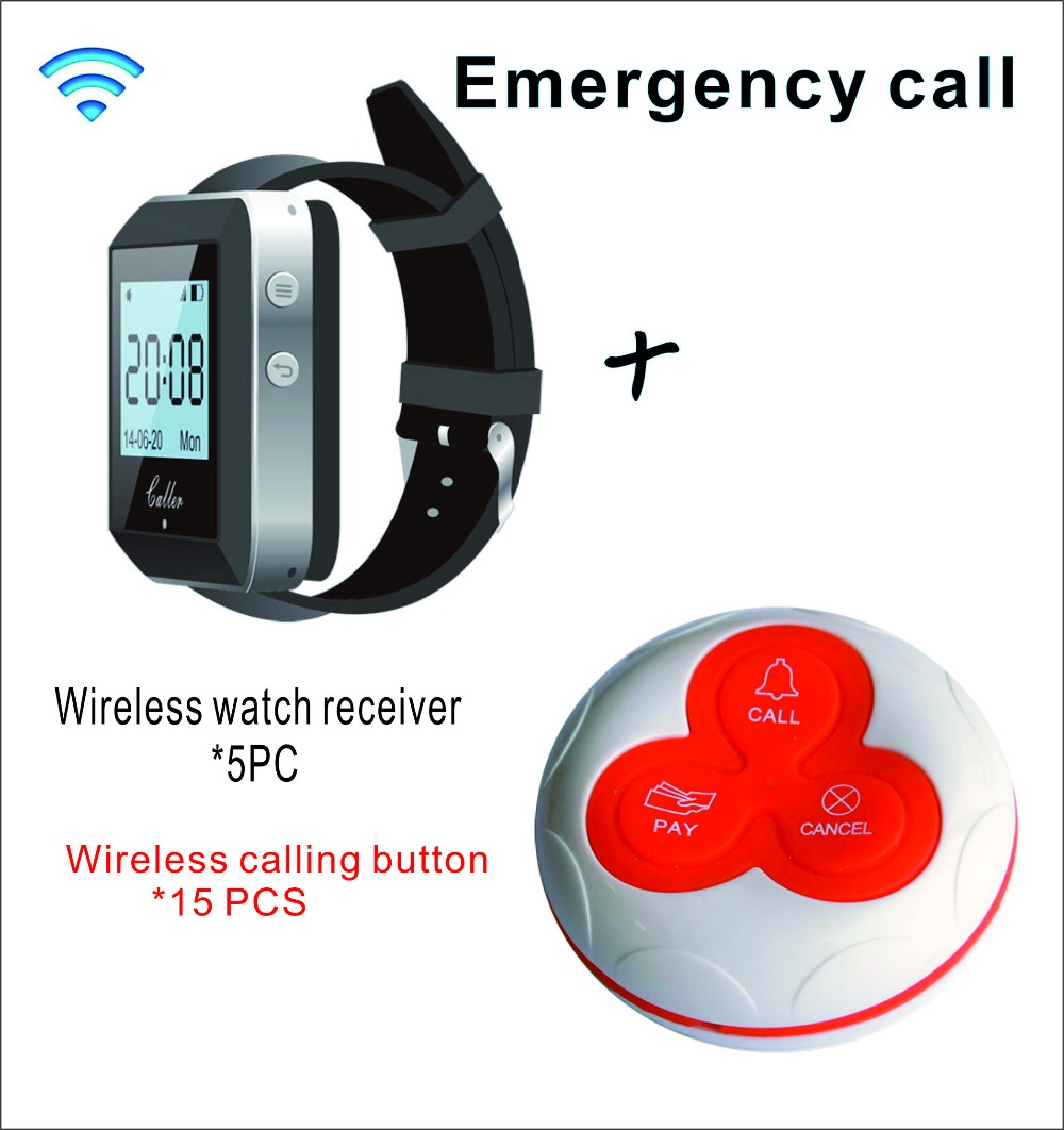 SHIHUI Wireless Pager Coaster Restaurant Call Paging System 5 Wrist Watch host+10 Table Bell Button Pager Restaurant Equipment
