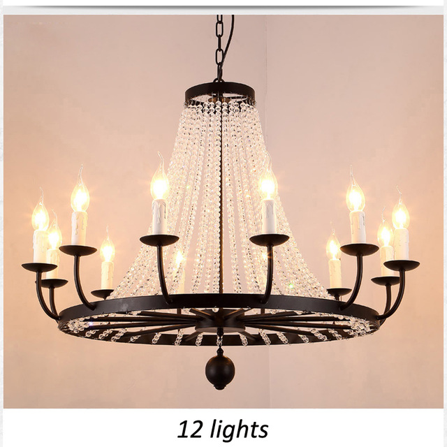 LOFT American Crystal Pendant Light Retro Iron Lamp Candlestick For Bedroom Home Shop Store Dining Room Restaurant Coffee Shop Chandeliers     - title=