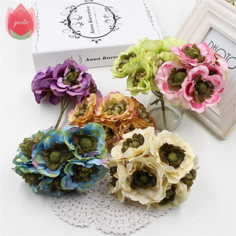 6 unids seda 6 cm flores silvestres mariage peonía flores artificiales para el b