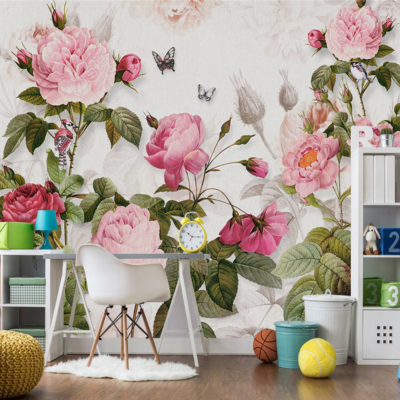 3D Wallpaper European Style Pink Flowers Plant Mural Living Room Bedroom Wedding House Background Wall Romantic Papel De Parede
