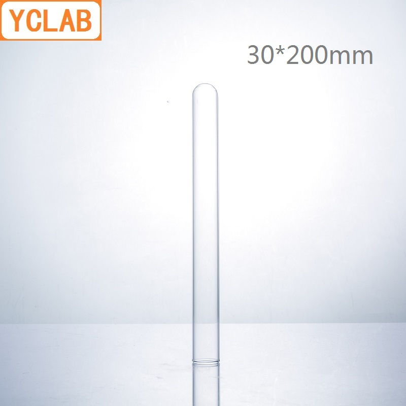 YCLAB 30*200mm Glass Test Tube Flat Mouth Borosilicate 3.3 Glass High Temperature Resistance Laboratory Chemistry Equipment