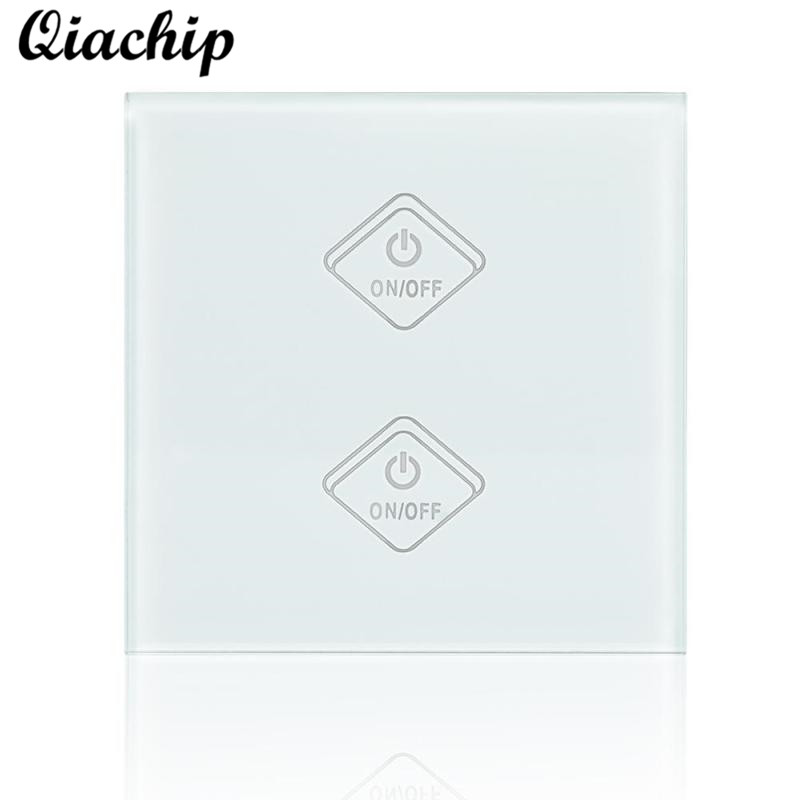 QIACHIP UK Plug WiFi Smart Switch 2 Gang 1 Way Light Wall Switch APP Remote Control Work With Amazon Alexa Google Home Timing smart home luxury crystal glass 2 gang 1 way remote control wall light touch switch uk standard with remote controller