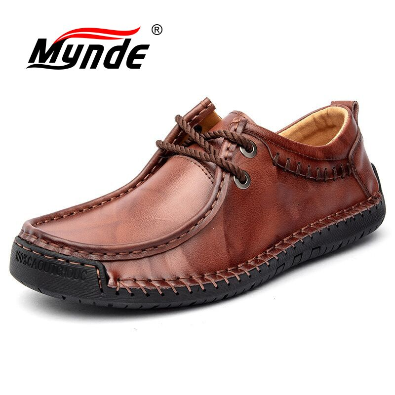 Mynde 2019 New Spring Autumn Handmade Men Shoes Handmade Leather Casual Shoes Men Loafers  Flats Moccasins Shoe Big Size 38-48
