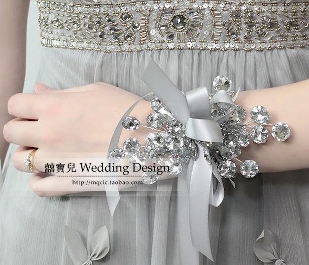 Fashion Bride Austrian Crystal Pearl Wrist Band Length Flower Bracelet Accessories U7 Luxury Wedding Supplies