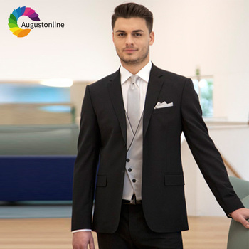 Trajes negros para hombres para boda negocios novio desgaste graduación Slim  Fit Formal Blazer personalizado esmoquin mejor hombre chaqueta + Pantalones  + ... 82215a6a535