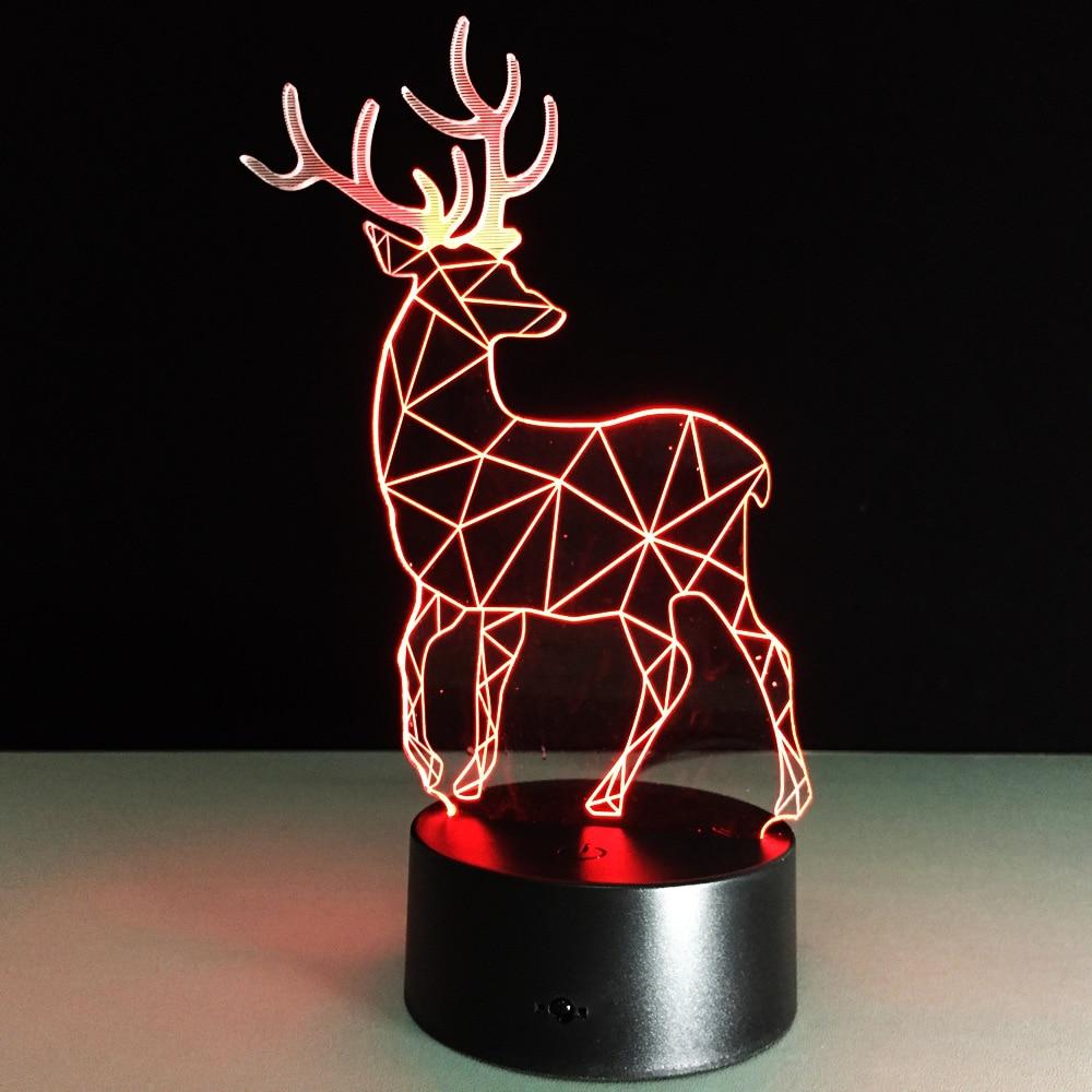 2019 Yenilik 3D Görsel Led Gece Lambası Ren Geyiği Şekli USB Masa - Gece Lambası - Fotoğraf 1