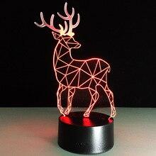 2019 Novelty 3D Visual Led Night Lamp Reindeer Shape USB Table Light Acrylic Panel Kids Room Decor Holiday Gift