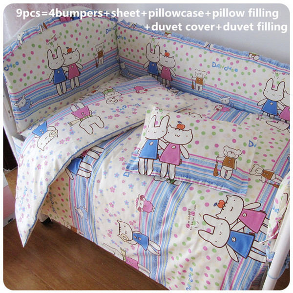 2016! 6/7pcs crib bedding set ,infant nursery set,baby bedding set bumper Duvet Cover,120*60/120*70cm