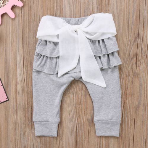 CANIS Brand Newborn Baby Girls Toddlers Kids Princess Long Trousers Bowknot Ruffles Long Pants Casual Bottoms Leggings 0-4Y