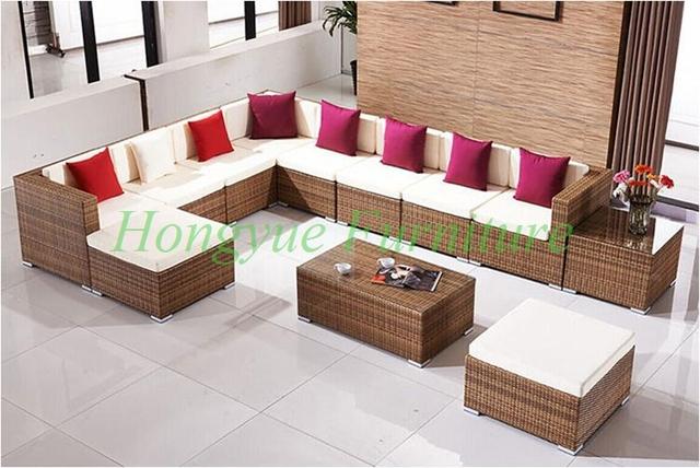 L forma de jardín de ratán conjunto de sofás muebles de mimbre con cojín almohadas venta