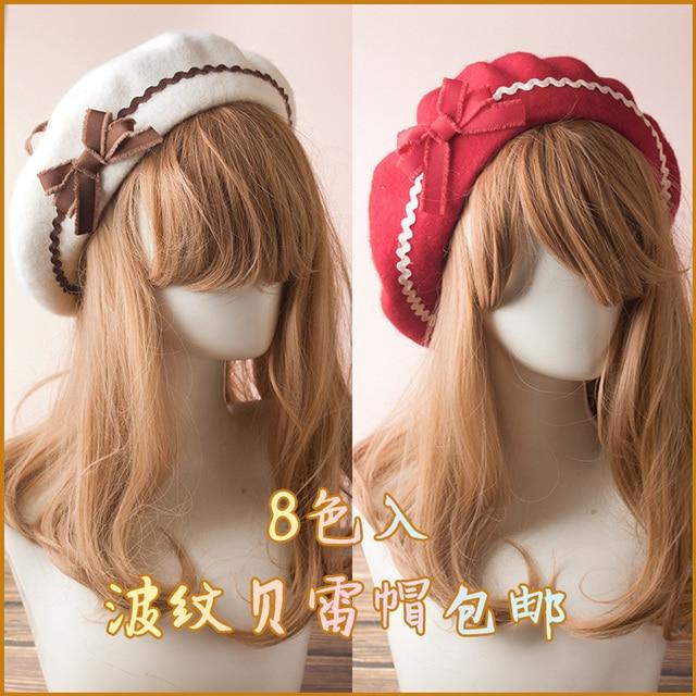 859803b5425f8 Princess sweet lolita berets Japanese hand original wavy bow hair ball Beret  handmade lolita soft sister fashion and cute GSH164