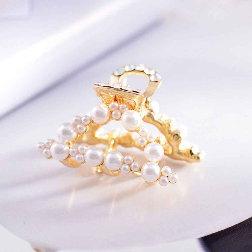 1Pc luksusowe Rhinestone perły metalowe geometryczne spinki krab spinki do włosów spinki do włosów w kształcie motyla Barrette nakrycia głowy dla kobiet dziewczyn
