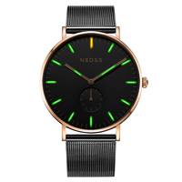 NEDSS DW simple styles tritium watch men quartz steel watch luminous supper slim case waterproof male clock relogio masculino