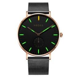 NEDSS DW simple styles tritium watch men quartz steel watch luminous supper slim case waterproof male clock relogio masculino