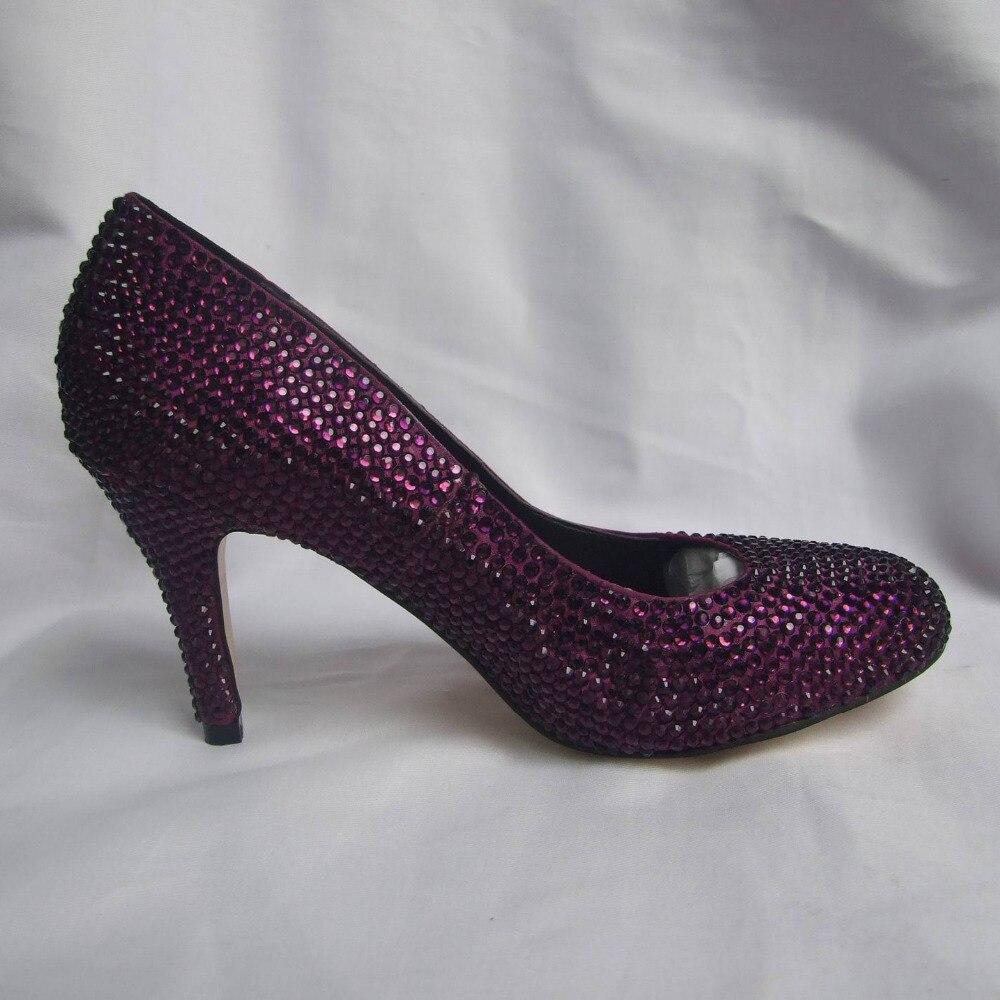 Handmade dark purple eggplant full rhinestone diamond woman shoes ...