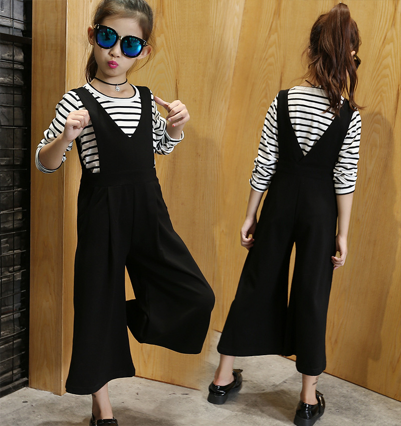 Spring 2018 New Fashion Black Striped Print T-shirts + Overalls Pants Girls Clothes Children Sets 2pcs Suit 7 8 9 10 11 12 13 14 girls slogan print tee with striped pants