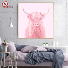 Pink Highland Cow Posters and Prints Nordic Cactus Photography Canvas Painting Wall Pictures For Living Room Home Decor No Frame(China)