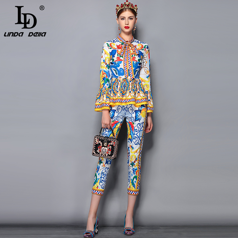 LD LINDA DELLA Fashion Runway Pants Suit Sets Women s Flare Sleeve Bow Collar Print Blouses