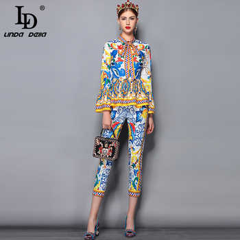 LD LINDA DELLA Fashion Runway Pants Suit Sets Women's Flare Sleeve Bow Collar Print Blouses and Casual Pants Two Pieces Set 2019 - DISCOUNT ITEM  40% OFF All Category