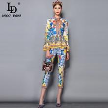 LD LINDA DELLA Pista di Modo Pantaloni Set Abbigliamento Arco Del Manicotto Del Collare del Chiarore delle Donne Camicette di Stampa e Casual Pantaloni Due Pezzi set 2019Completi da donna