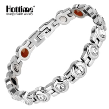 Brand Hottime Personality Zircon Stainless Steel Bracelet Bangles Rhinestone Bio Elements Energy  Bracelets Jewelry Accessories