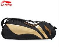 Gold/Black Genuine Lining Badminton Rackets Bag Chen Long 6 Racquet Badminton Bag Li ning ABJJ048 Backpack L240