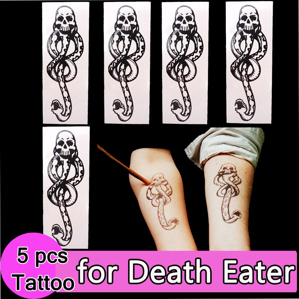 tmavá značka - 5x Death Eaters Dark Mark Tattoos for Potter Cosplay Dancing Party Accessories Dance Arm Art Make Up