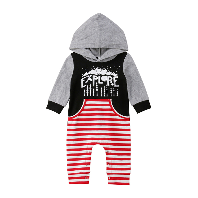 e04e0ba74509 2018 Newborn Baby Infant Kid Boy Girl Romper Hooded Jumpsuit Outfits ...