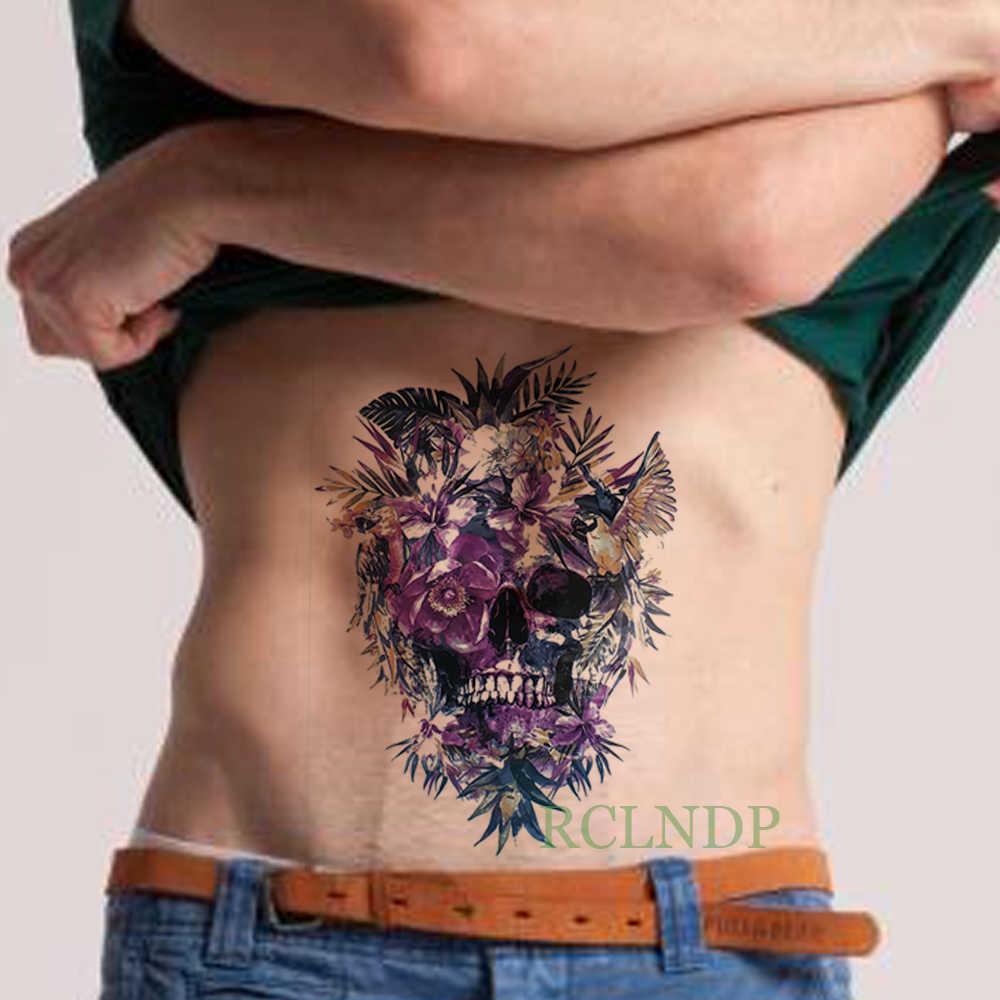 3b22ce79c0a05 Waterproof Temporary Tattoo Sticker Skull head Flower Rose Fake Tatto Flash  Tatoo Back Leg Arm belly