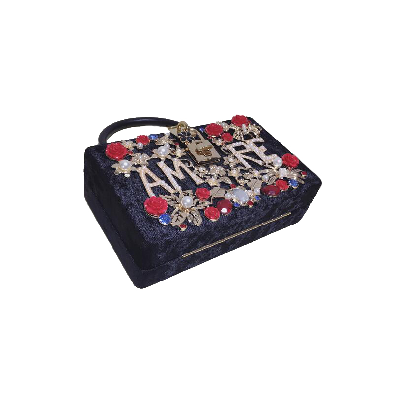2017 Nueva moda bolso de Las Mujeres femme caja de terciopelo negro flor día Emb