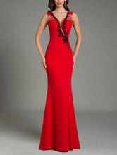 Temperament Rot Sexy Formale Abendkleider Perlen Pailletten Chiffon Abend Party Plus Size Prom Kleid Lange robe de soiree