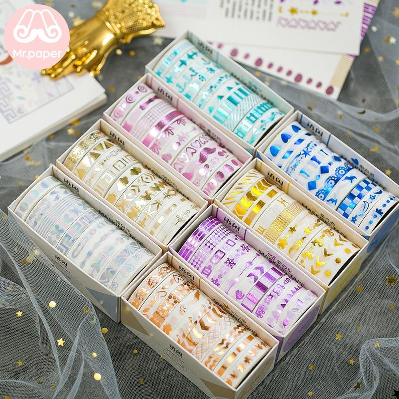Mr Paper 10pcs/box 8mm*3m Color Stamping Cut-off Rule Line Bullet Journaling Washi Tape Scrapbooking DIY Decoration Masking Tape