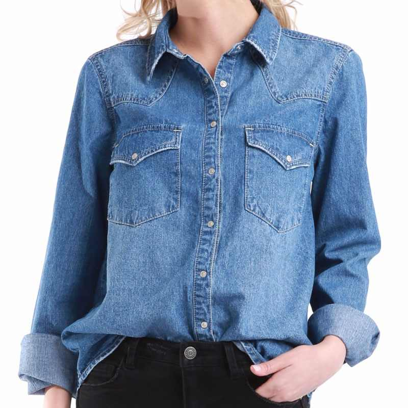 Women Denim Basic Shirt Loose Casual Long Sleeve With 2 Pockets 100% Cotton Washed Blue Female Lady Blouse Top