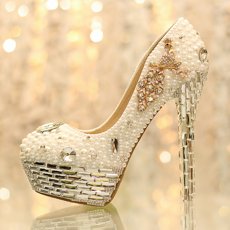 NEW crystal peacock pumps women's bride shoes wedding shoes high heel platform shoes genuine leather single lady shoes