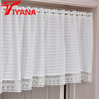White Plaid Coffee Short Curtains Kitchen Cabinet Bookshelf Half Lace Curtain Window Wall Decoration Door Drape