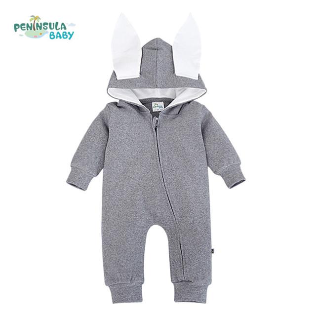 Hoodies Do Bebê Menino Roupas Macacão Macacão de Bebê recém-nascido Do Bebê Traje Da Menina 3D Orelha de Animal Com Capuz Macacão para bebês outwear
