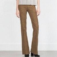 Przycięte Spodnie sztruksowe Spodnie Damskie Ciepłe Wysoka Talia Stretch Slim Flared Equitation Pantalon Bell Bottom Spodnie Rocznika 60B0235