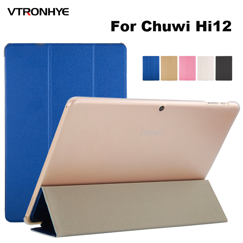 Case For Chuwi Hi12 Tablet PC Case 12 Inch VTRONHYE Slim Stand PU Leather Front Clear