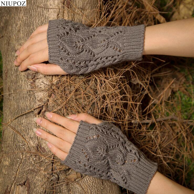 Pretty Stylish Gloves Women Female Stretch Knit Gloves Hot Winter Warm Arm Crochet Knitting Warm Fingerless Gloves G7