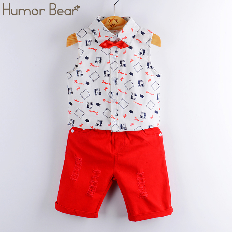 Humor Bear Baby Boy Clothes  New Summer Kids Clothing Sets Print Shirt+Red Pants+Belt 3Pcs for Boys clothing set