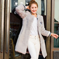 Женщины Подлинной Шуба Настоящее Мех Кролика Толстый Длинный Жакет Бейсбол Равномерное Дизайн Мода Зима Теплая Верхняя Одежда Пальто Женский