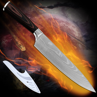Handmade Kitchen Knives 8 Inch Chef Knife Damascus Pattern Flowing Sand Wave With Color Wood Handle