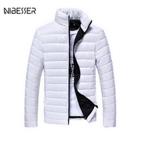 NIBESSER Brand Autum Winter Overcoat Solid Casual Male Jacket Candy Color Stand Collar Fashion Parka Cotton