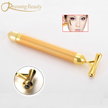 Free Shipping Personal Facial Beauty Care Energy 24K Gold Vibration Beauty Bar Facial Massager Roller